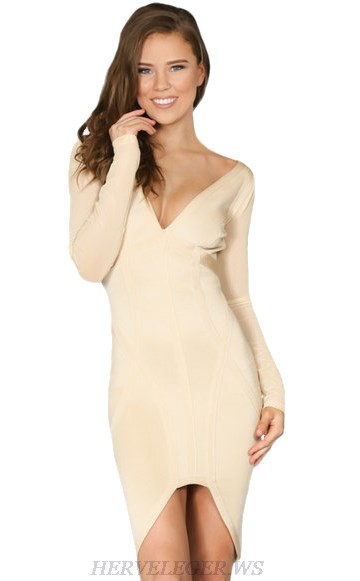 Herve Leger Nude V Neck Long Sleeve High Low Dress