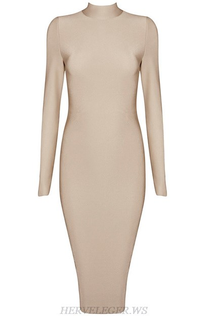 Herve Leger Nude Long Sleeve High Neck Dress