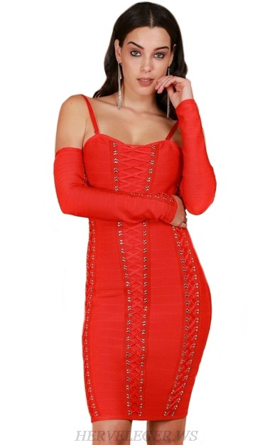 Herve Leger Red Long Sleeve Lace Up Detail Dress