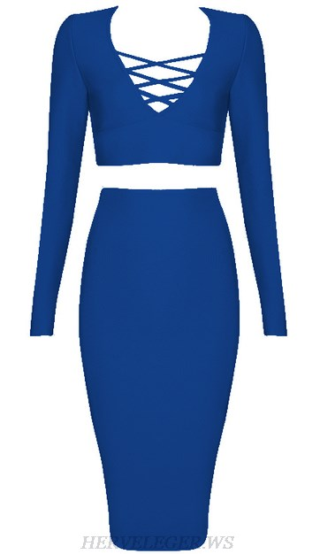 Herve Leger Blue V Neck Long Sleeve Lace Up Two Piece Dress