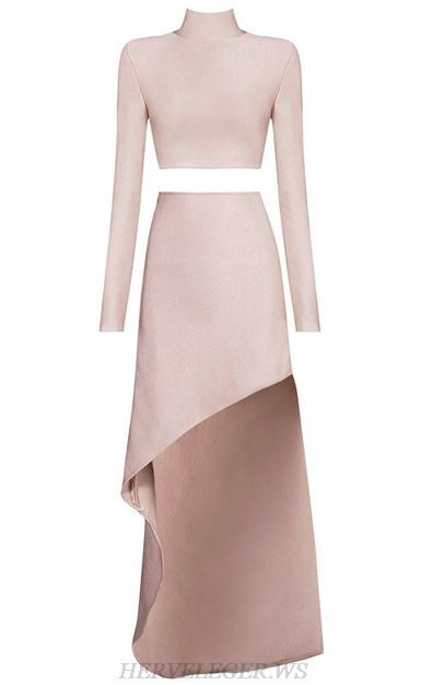 Herve Leger Nude Long Sleeve Slit Two Piece Gown