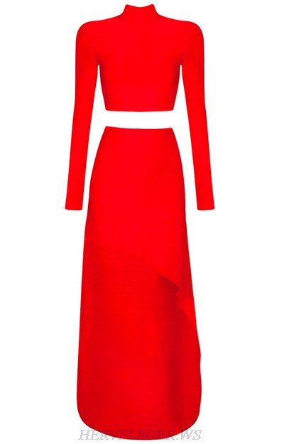 Herve Leger Red Long Sleeve Slit Two Piece Gown