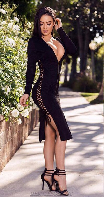 Herve Leger Black V Neck Long Sleeve Plunge Lace Up Dress