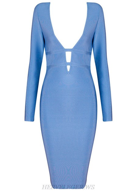 Herve Leger Blue Long Sleeve Plunge V Neck Dress