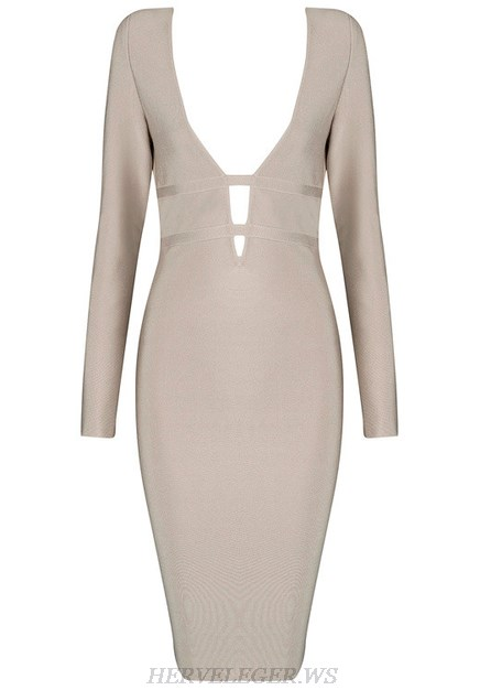 Herve Leger Nude Long Sleeve Plunge V Neck Dress