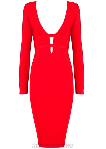 Herve Leger Red Long Sleeve Plunge V Neck Dress