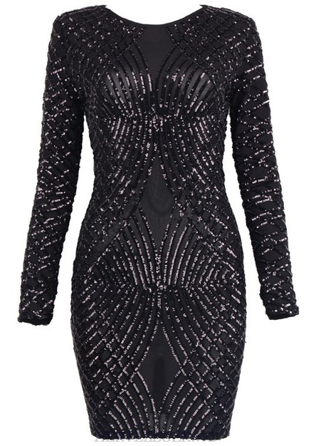 Herve Leger Black Long Sleeve Sequined Dress