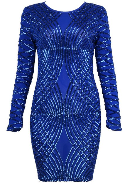 Herve Leger Blue Long Sleeve Sequined Dress