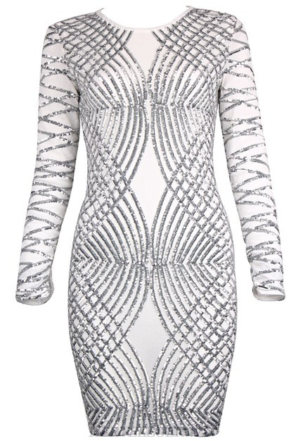 Herve Leger White Long Sleeve Sequined Dress