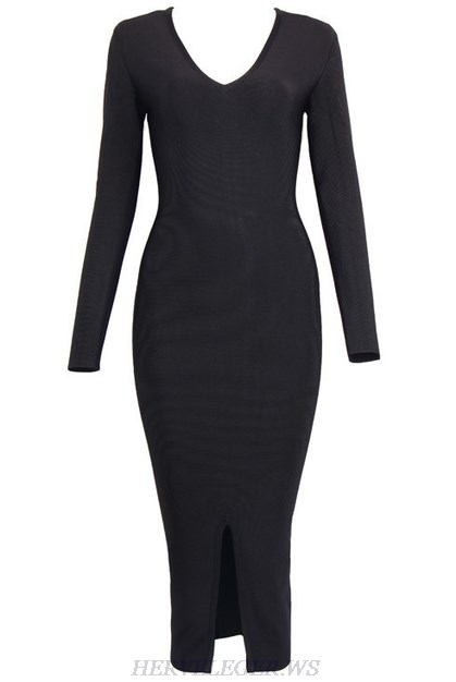 Herve Leger Black V Neck Long Sleeve Slit Dress