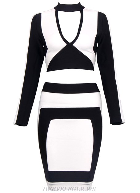Herve Leger Black And White Long Sleeve Two Piece Dress