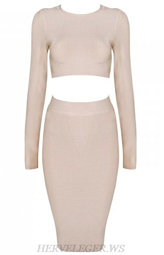 Herve Leger Nude Long Sleeve Two Piece Dress