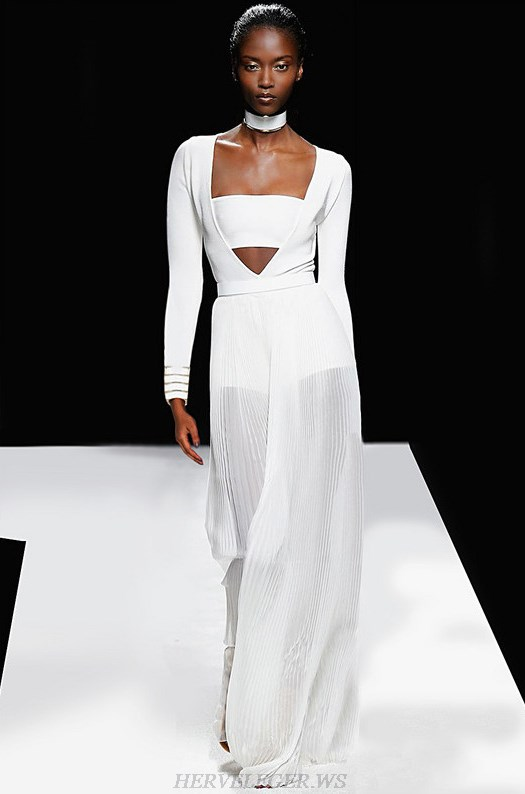 Herve Leger White V Neck Long Sleeve Two Piece Evening Dress