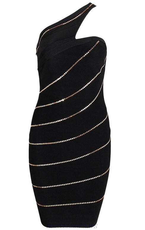 Herve Leger Black Gold One Shoulder Sequin Dress