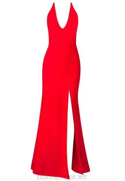 Herve Leger Red Plunge V Neck Slit Mermaid Evening Dress