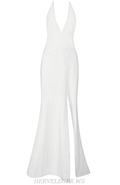 Herve Leger White Plunge V Neck Slit Mermaid Evening Dress
