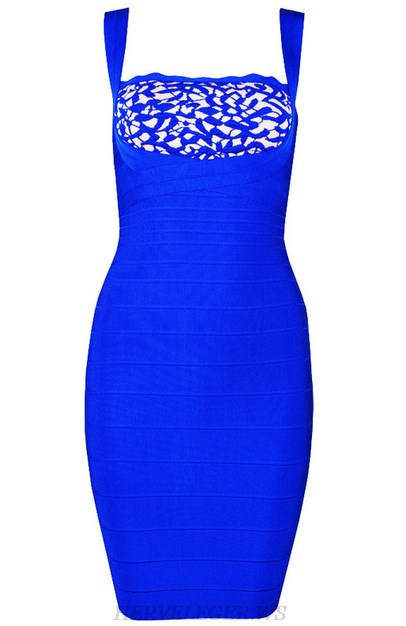 Herve Leger Blue Scalloped Patterned Dress