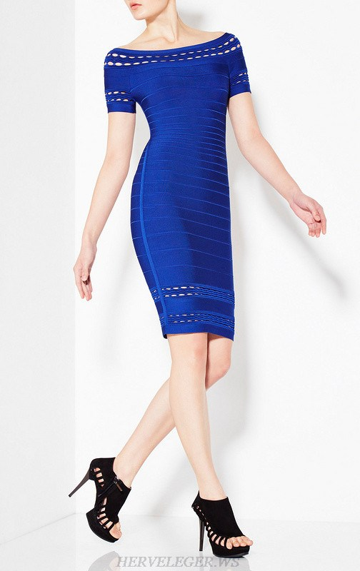 Herve Leger Blue Short Sleeve Bardot Dress