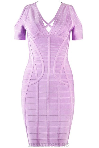 Herve Leger Lavender Short Sleeve Cold Shoulder Dress
