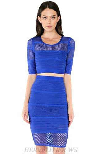 Herve Leger Blue Short Sleeve Crochet Insert Two Piece Dress