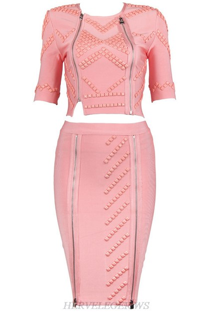 Herve Leger Pink Short Sleeve Embellished Two Piece Dress
