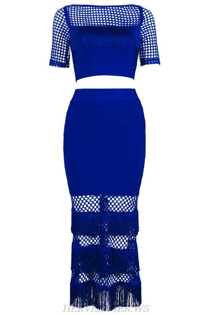 Herve Leger Blue Short Sleeve Two Piece Dress