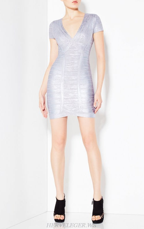 Herve Leger Silver Short Sleeves Woodgrain Foil Print Dress