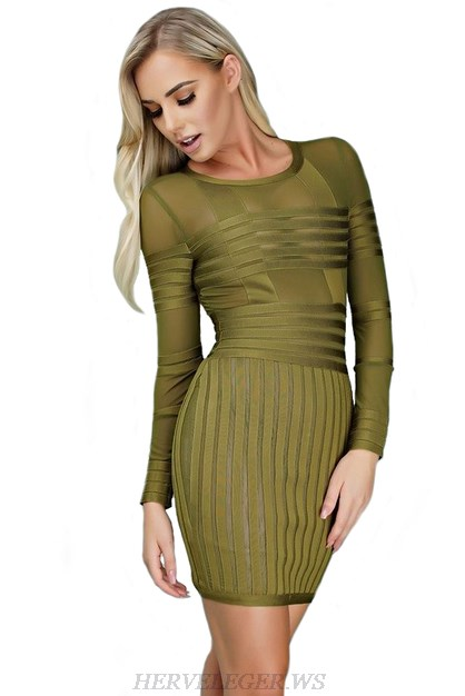 Herve Leger Green Striped Mesh Long Sleeve Dress