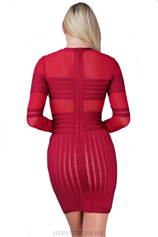 Herve Leger Red Striped Mesh Long Sleeve Dress