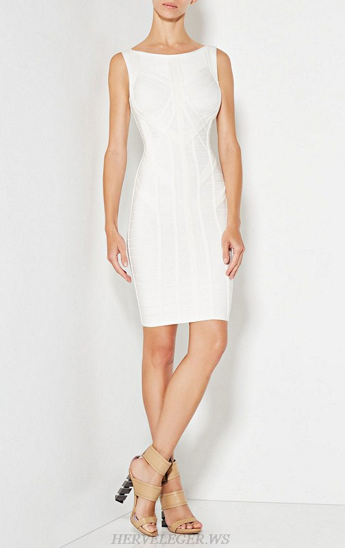 Herve Leger White Structure Dress