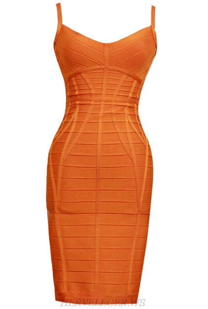 Herve Leger Orange Structured Dress