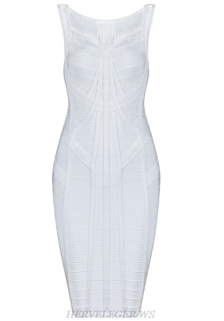 Herve Leger White Structured Dress