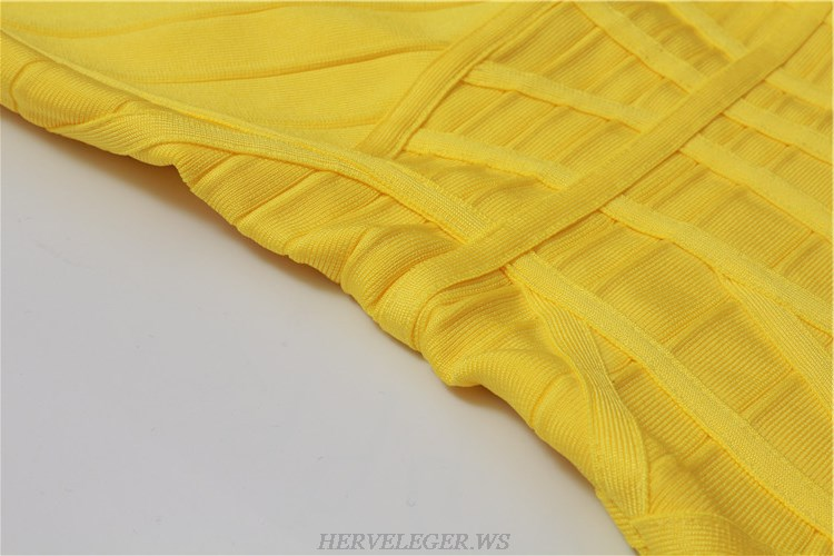 Herve Leger Yellow Structured Dress