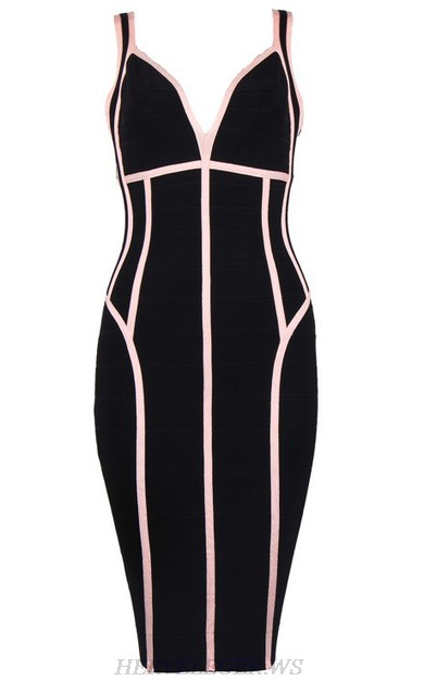 Herve Leger Black And Pink V Neck Dress