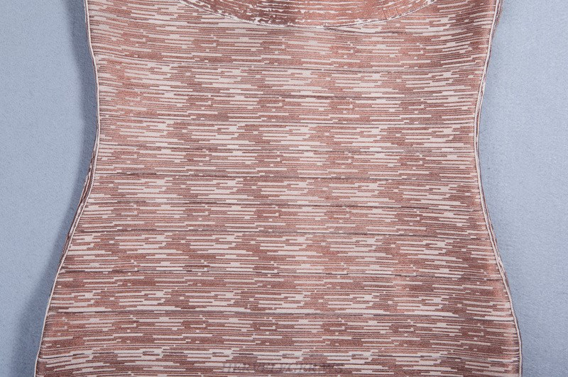 Herve Leger Rose Gold Woodgrain Foil Print Dress
