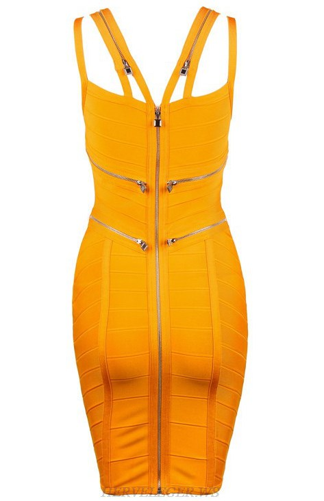 Herve Leger Light Orange Zipper Detail Dress