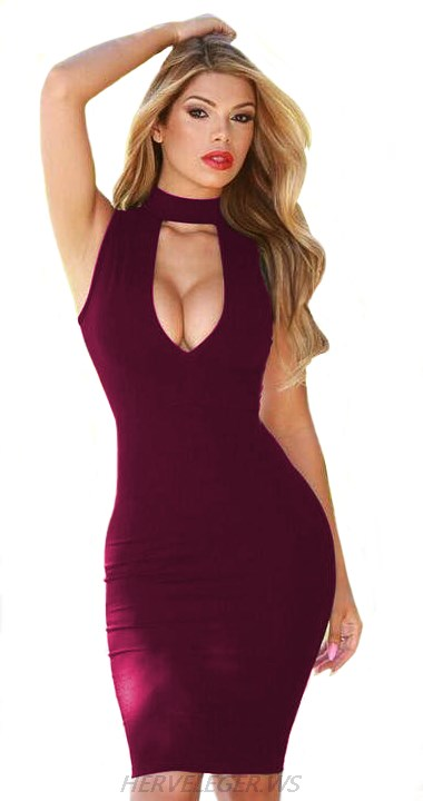 Herve Leger Burgundy Choker Cut Out Dress