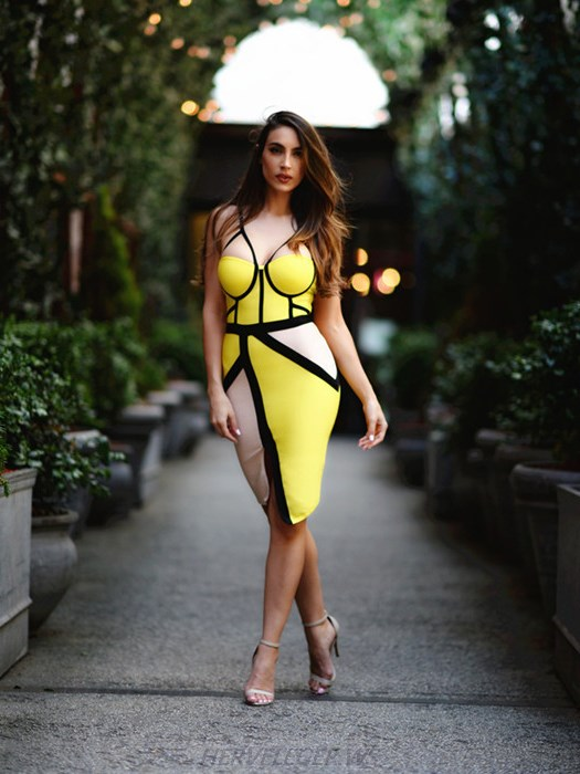 Herve Leger Yellow Colorblock Asymmetrical Dress