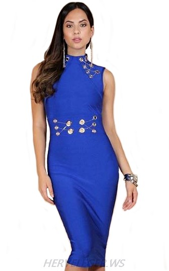 Herve Leger Blue Cut Out Backless Dress