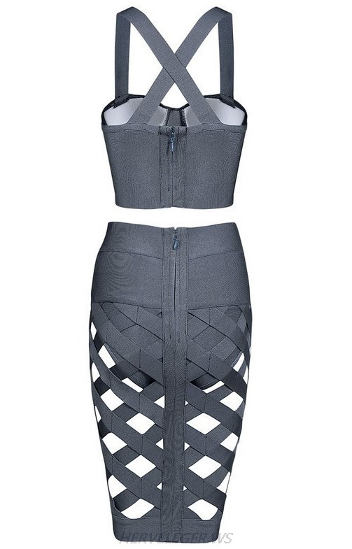 Herve Leger Grey Cut Out Two Pieces Dress