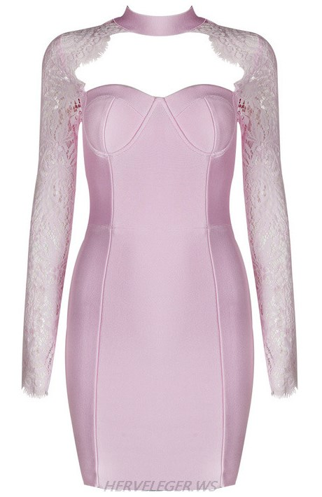 Herve Leger Pink Lace Long Sleeve Dress