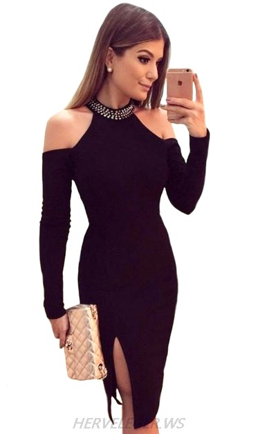 Herve Leger Black Long Sleeve Cold Shoulder Slit Stars Dress