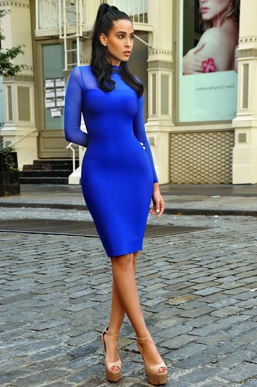 Herve Leger Blue Long Sleeve Mesh Stars Dress
