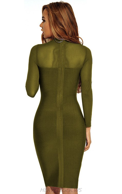 Herve Leger Green Long Sleeve Mesh Stars Dress