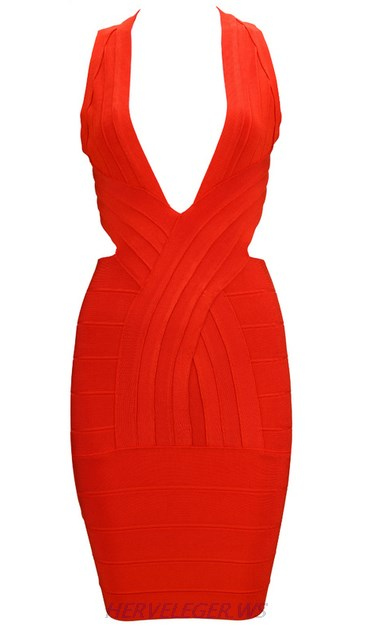Herve Leger Red V Neck Cross Back Dress