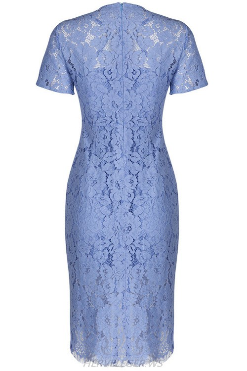 Herve Leger Blue Short Sleeve Crochet Dress
