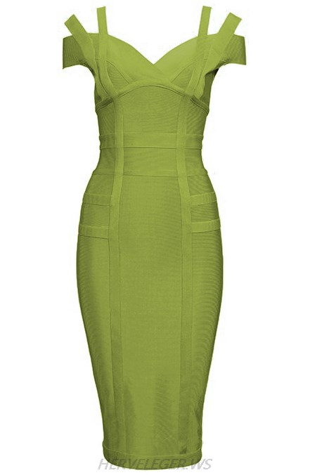 Herve Leger Green Strapless Bardot Dress