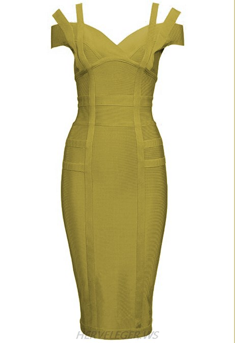 Herve Leger Olive Green Strapless Bardot Dress