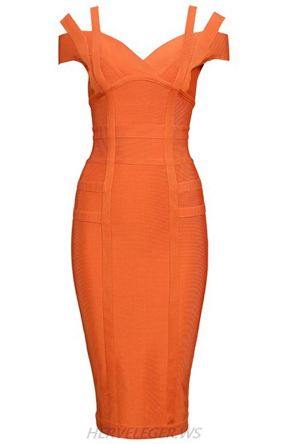 Herve Leger Orange Strapless Bardot Dress