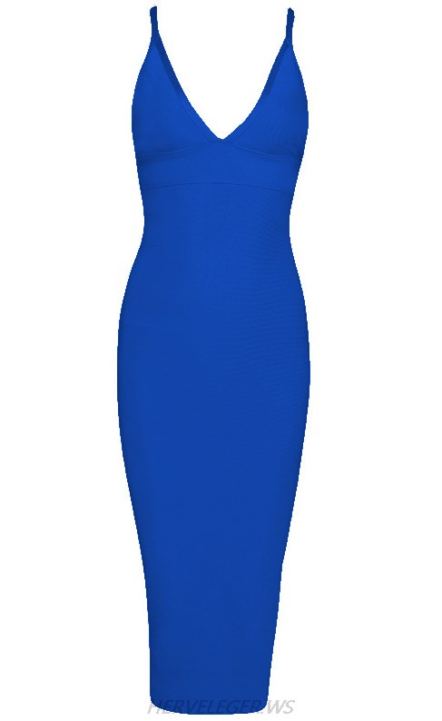 Herve Leger Blue V Neck Halter Dress